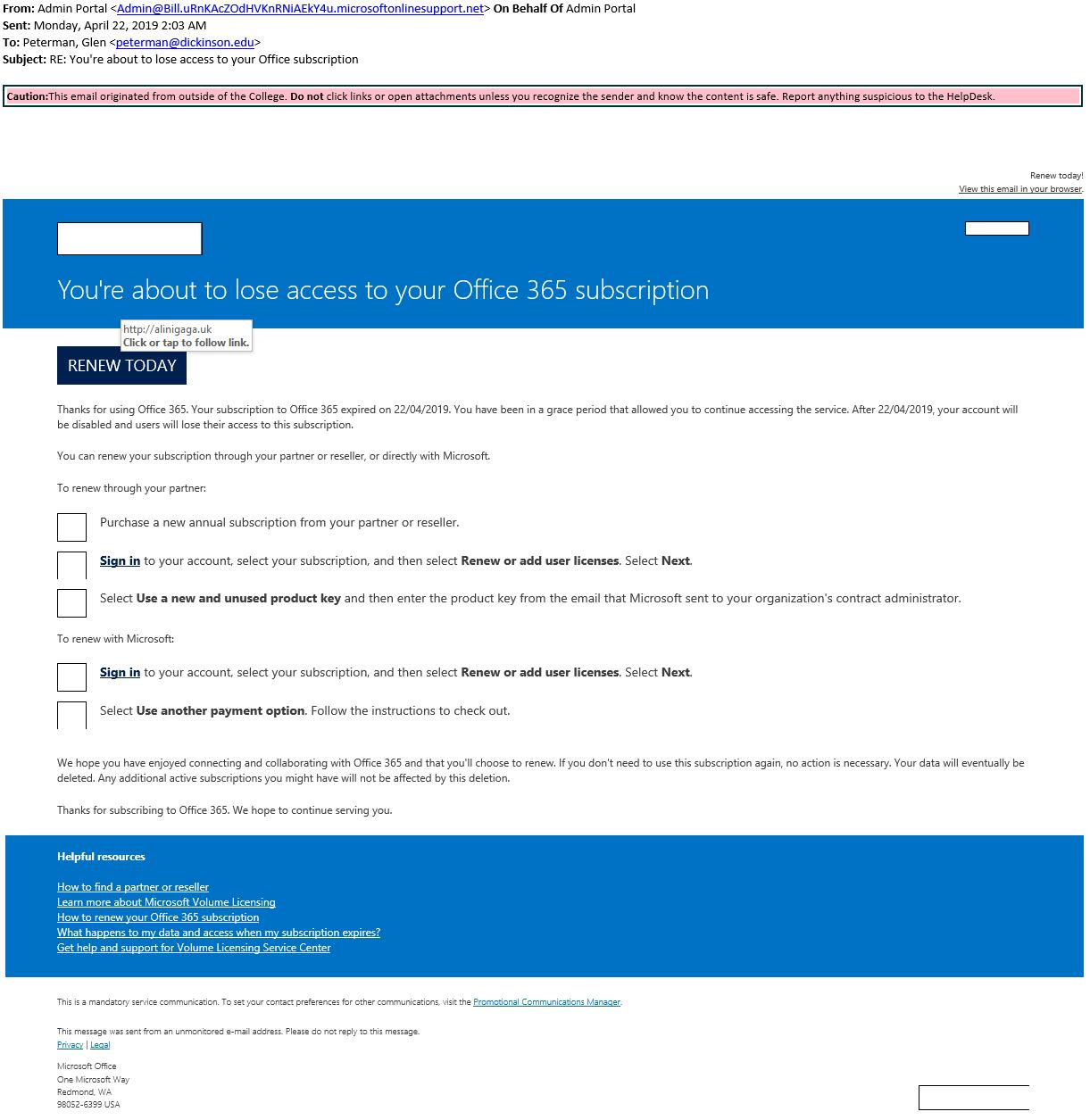2019 April | Phishing Alerts | Dickinson College