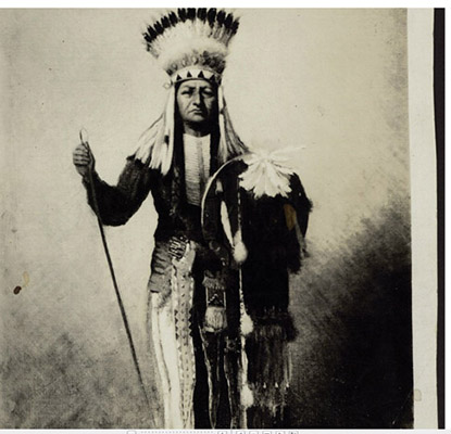This image shows a Cheyenne Chief who was captured and taken as a prisoner.