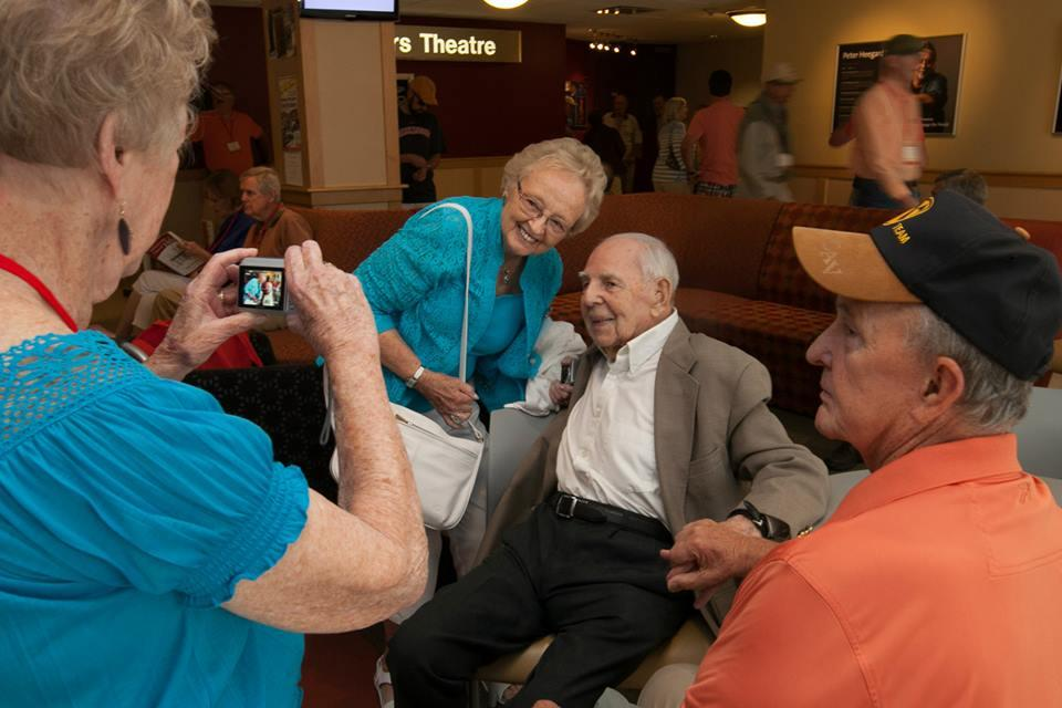 Ben James '34 greets fellow alumni as President for a Day. Photo by Carl Socolow '77.