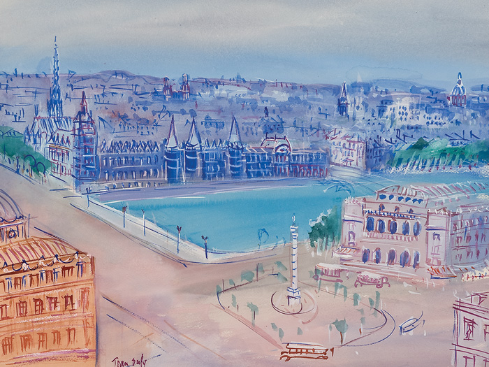 Jean Dufy, View of Paris, ca. 1920–1940. Watercolor and gouache on paper, 18. x 24. in. (47.6 x 62.9 cm). Signed, lower left: Jean Dufy. The Trout Gallery, Dickinson College, Gift of Henry and Donna Clarke, 1983.1.1 (cat. 4).