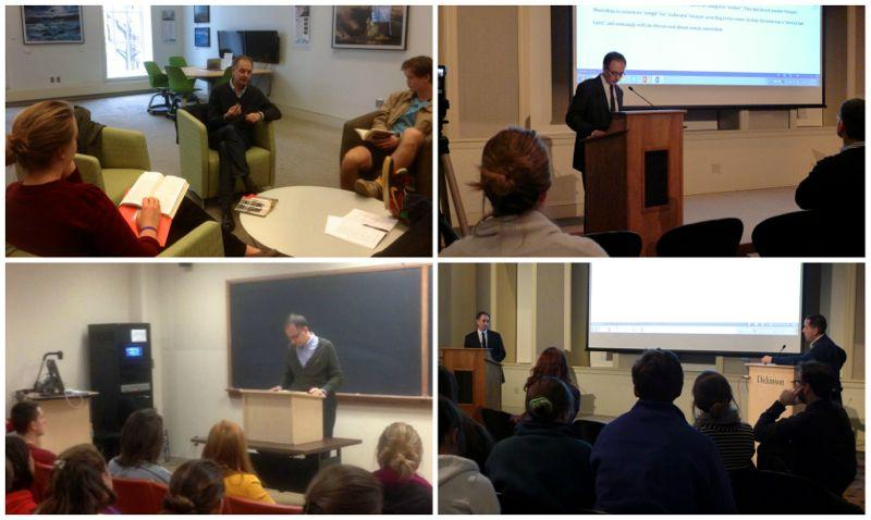 Collage of four photos from various discussions that Soler led.