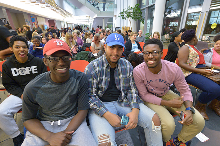 Students came to the Rector Atrium to attend the 2015 Diversity Monologues
