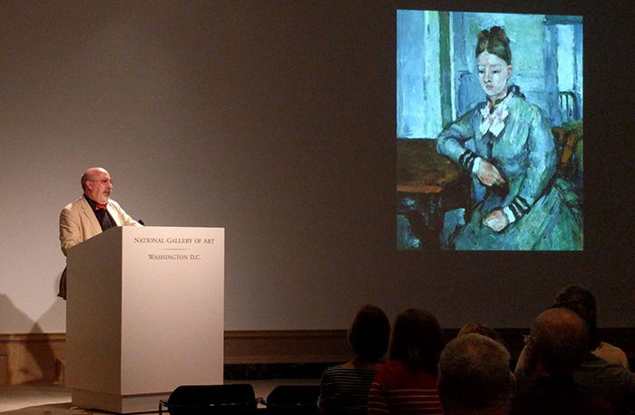 Eric Denker '75, senior lecturer and head of tours at the National Gallery of Art, delivers a lecture on Cezanne's Portraits during the April 28 regional event.