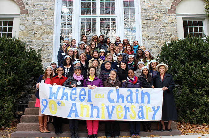 Members of Wheel and Chain gathered on campus to celebrate their anniversary.