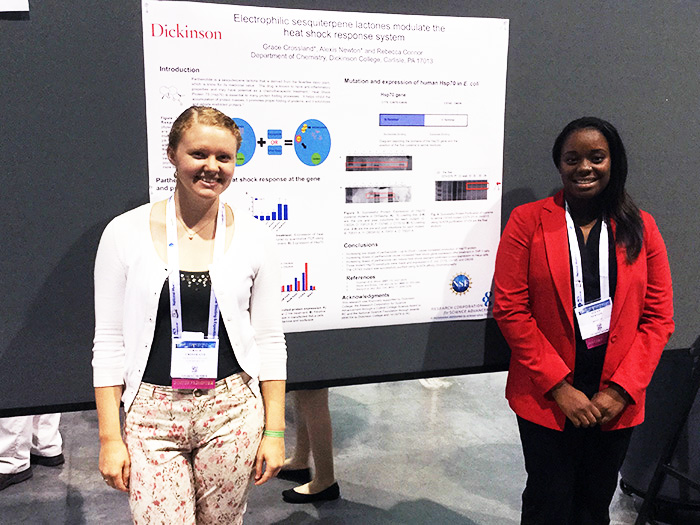 Grace Crossland '18 and Alexis Newton '17 presented research at the 250th-annual American Chemical Society exposition.