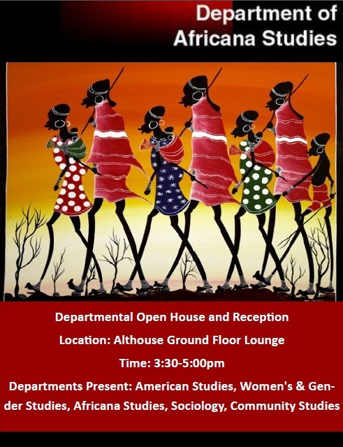 This is a poster for the department of Africana Studies Fall 2013 Open House held in Althouse Ground Floor Lounge from 3:30 to 5:00pm.