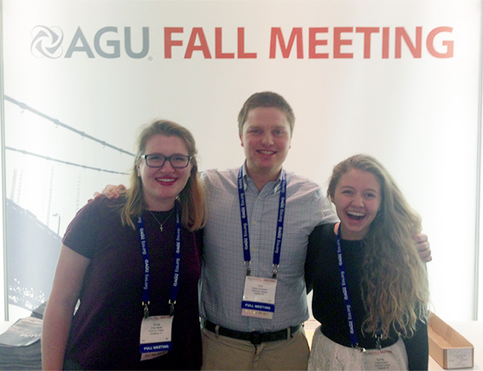 Three students traveled to California during winter break to attend the fall AGU conference.