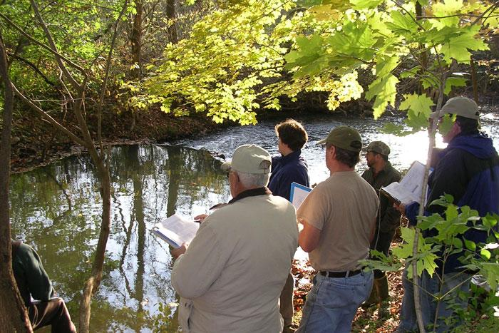 citizen scientists at a stream