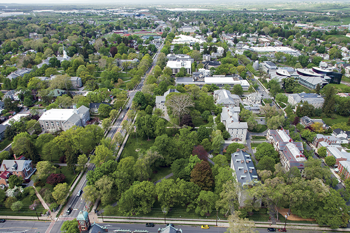 Aerial image of campus and community.