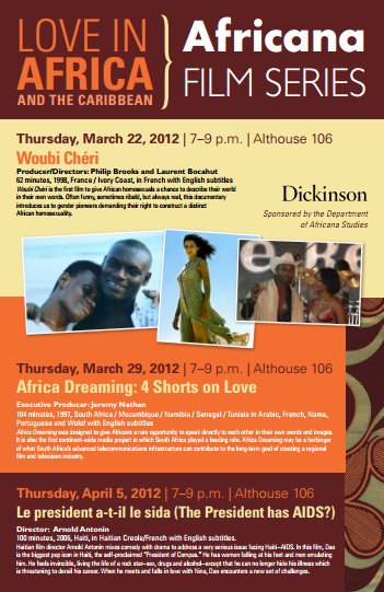 This is a poster for the Africana film series held in MArch of 2012.