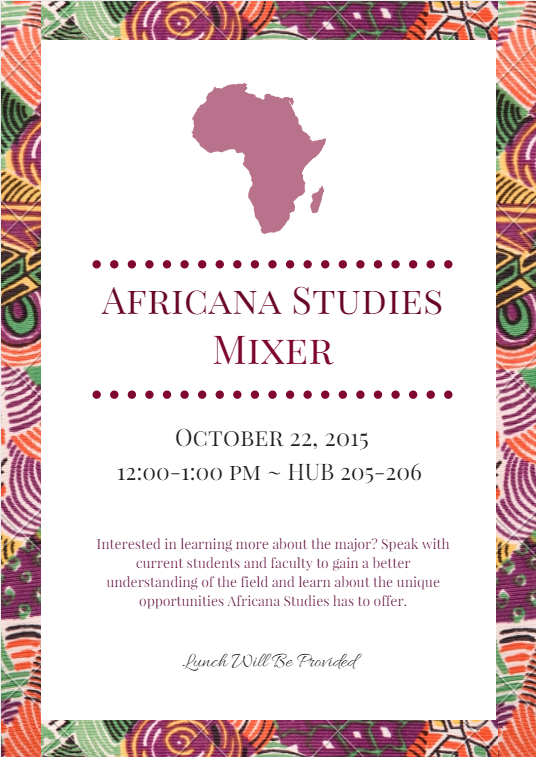 Africana Studies Mixer 2015 flyer