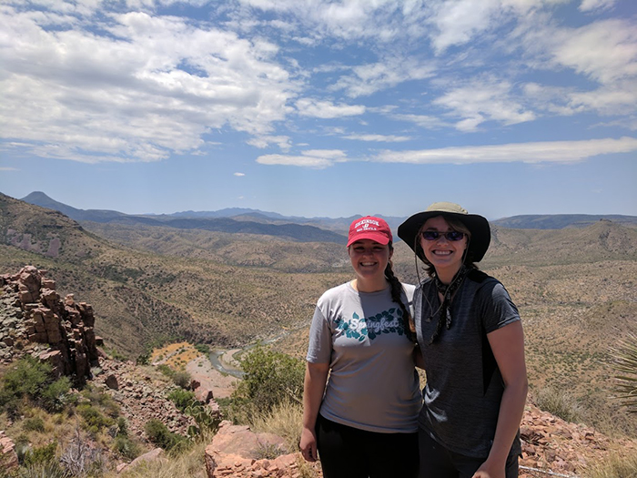 Amanda Kale '17 (left) and Allison Curley '19 performed original research in Arizona with Alyson Thibodeau (not pictured). Photo courtesy of Thibodeau.