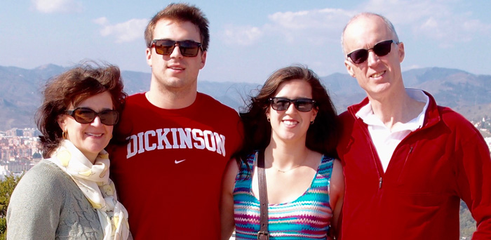Gordon and Anne Armour P'16, pictured with their daughter, Charlotte and their son,  Tobias, in Málaga, Spain, during Charlotte's study-abroad year.