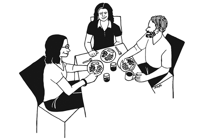 At the table, illustration by Amanda Chilton
