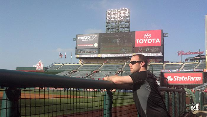 Ben Werthan '08 takes in Angel Stadium in Anaheim, California, long before the Orioles take the field.