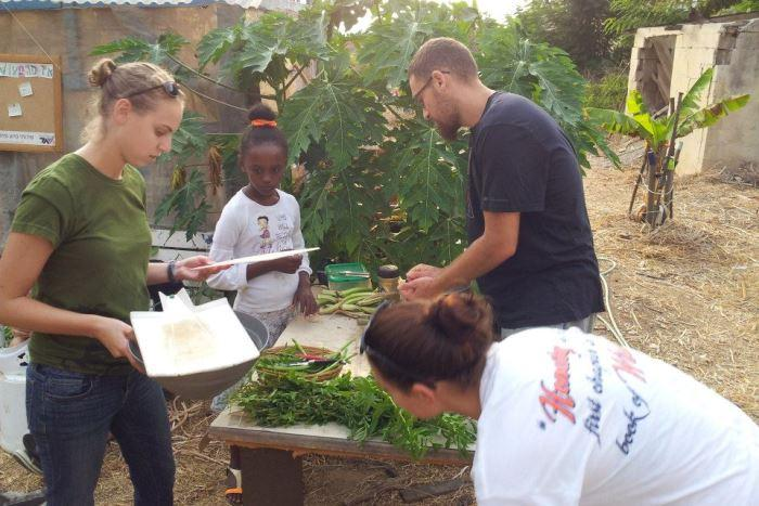 Members of Yahel work in a community garden