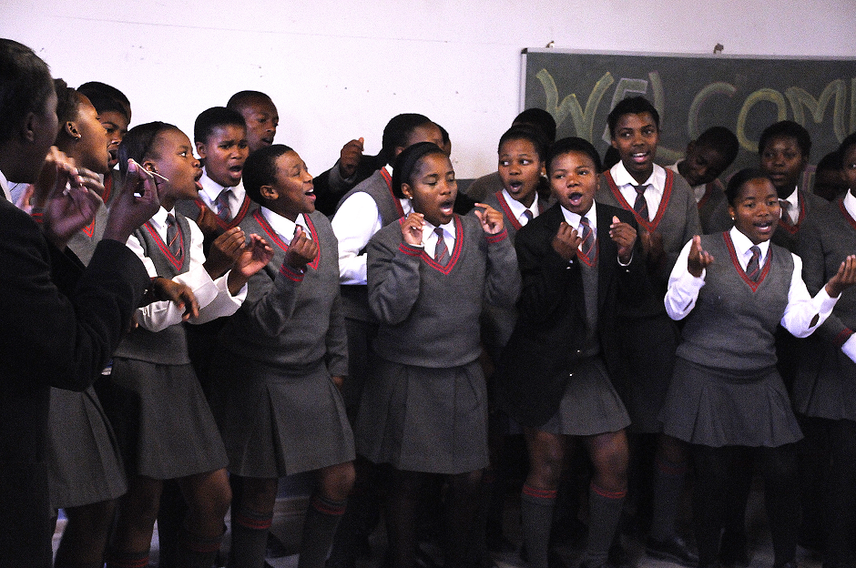 Photograph of students singing