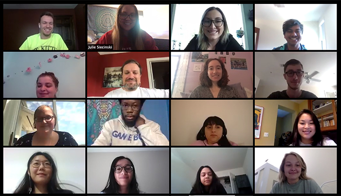CAI interns meet virtually with CCLA Director Gary Kirk (second row, second from left). Meetings and shared online documents keep everyone connected an on track.