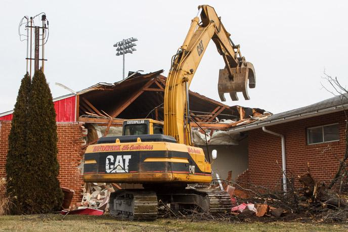 Biddle field locker rooms removed to make way for upgrade.