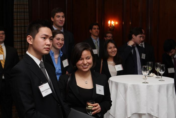 Zhewei Sebastian Zheng '15 and Marie Gray '14 were among the current students attending the New York event.