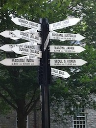 Dickinson College's directional sign, indication our locations abroad