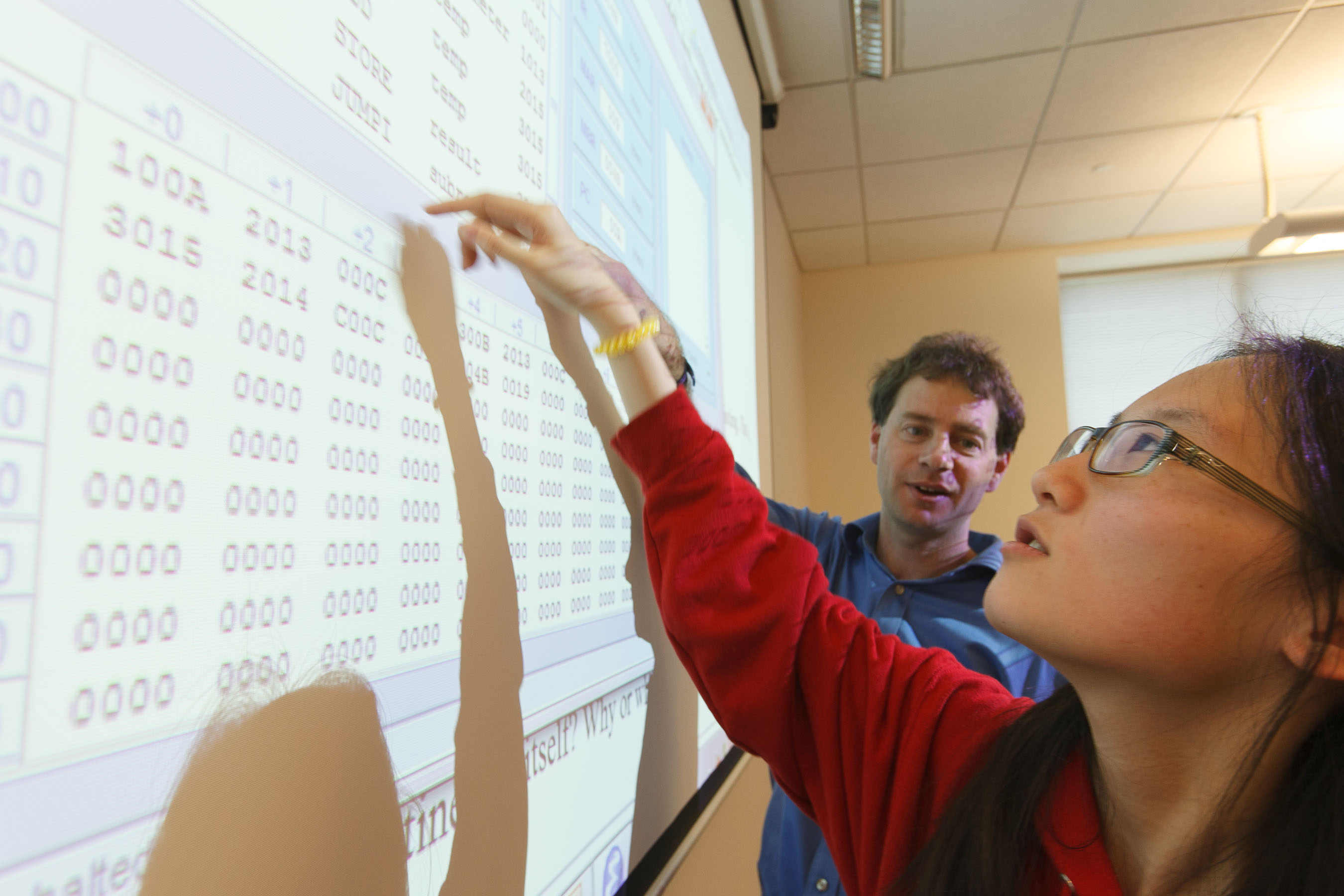 Student and teacher at a smartboard