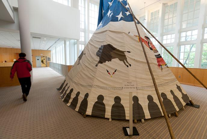 Picture of Tipi in Waidner-Spahr Library