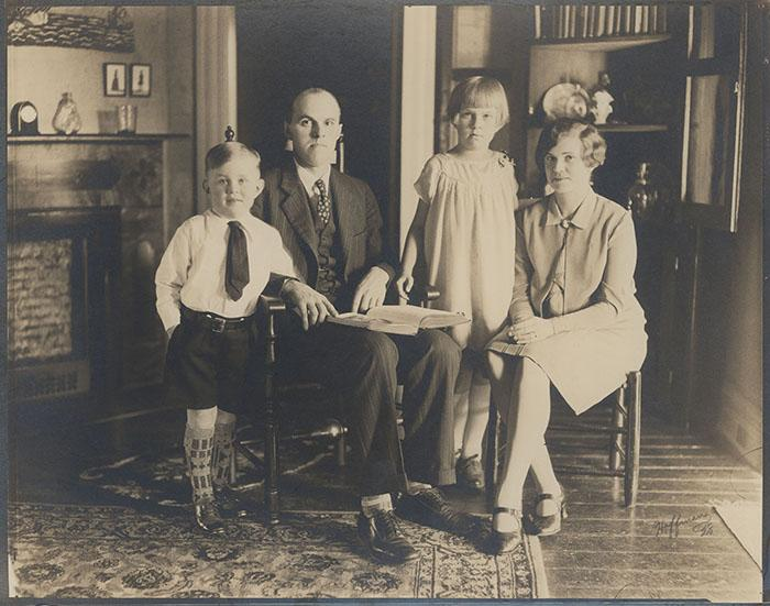 Martha (Calvert) Slotten and her brother and parents, 1928. Martha shared this picture when recording her childhood memories.