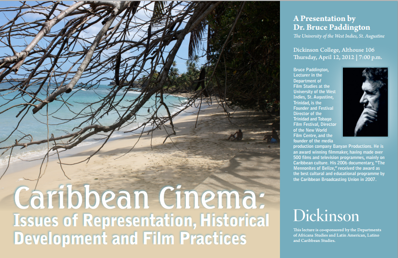 This is a poster for lecture on Caribbean cinema.