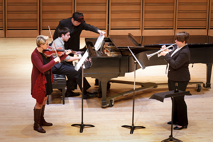 students perform chamber music in Rubendall Recital Hall.