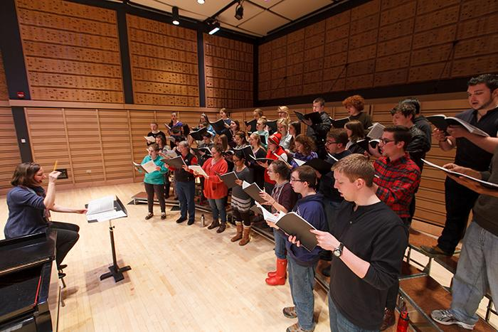 Photo of the college choir rehearsing