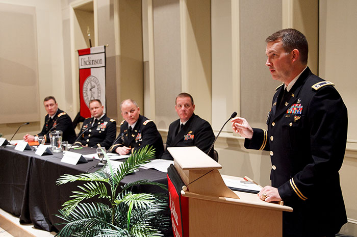 Decorated officers from the U.S. Army War College discuss national policy issues at Dickinson.