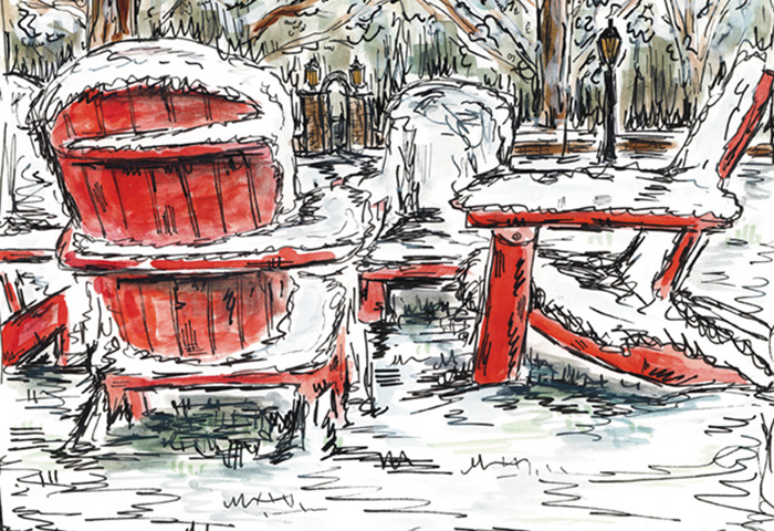 Illustration of a wintry campus. Cover art (detail) by Colleen Freichs '17,