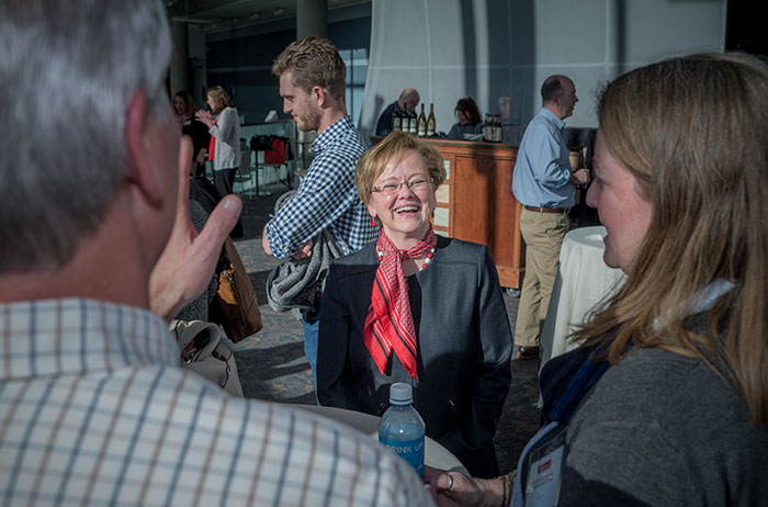 """I've connected with about a thousand alumni all across the country, and I'm happy to connect with you,"" said President Margee Ensign, during a Denver stop along her Useful Education for the Common Good tour."