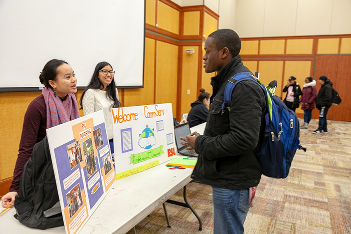 Students interact with service groups on campus to learn about opportunities to get involved in the local community.