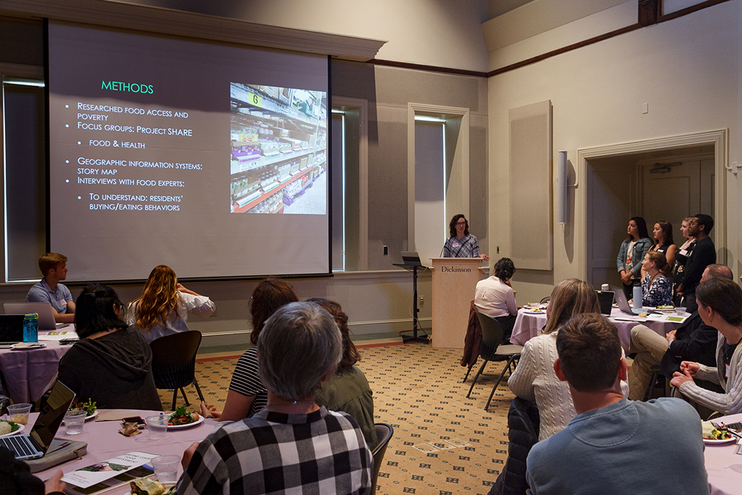 On April 26, students delivered a lunchtime presentation on food security in Central Pennsylvania to community leaders. Photo by Carl Socolow '77.