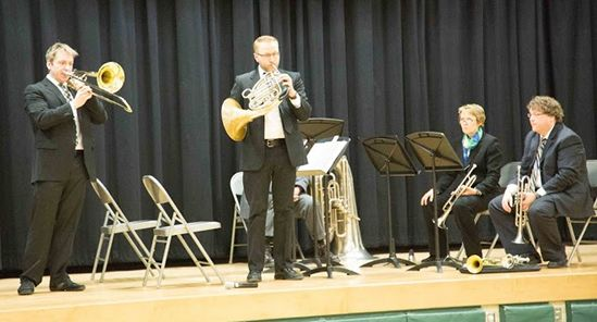 Dickinson College Faculty Brass Quintet performing a DCMOP Concert