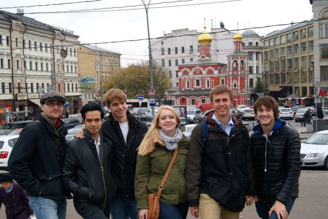 Dickinson students in Moscow, Russia for the study abroad program in 2014.