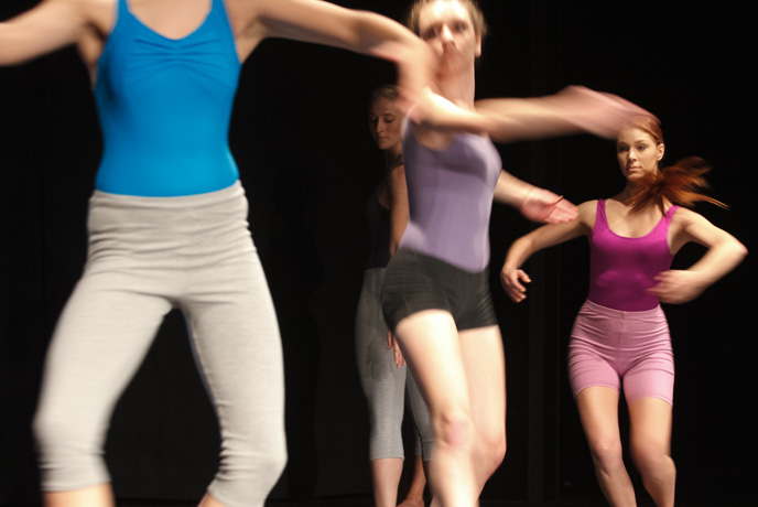 Students perform a recital of works by guest-choreographer Pam Tanowitz