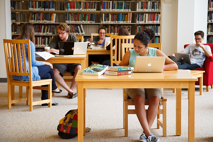 Students study in the Waidner-Spahr library. Photo by Carl Socolow '77.