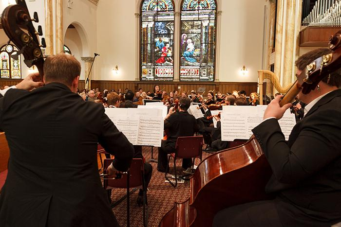 The Dickinson College Orchestra performs at First Evangelical Lutheran Church in Carlisle.