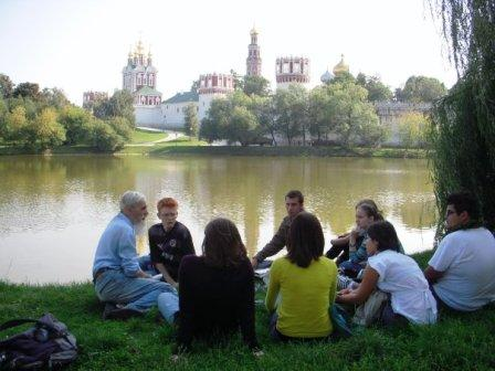 Dickinson students have a class outside during their Dickinson-in-Moscow program.