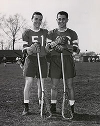 Sam Rose '58 (right) with lacrosse teammate Don O'Neill '58 during their senior year.