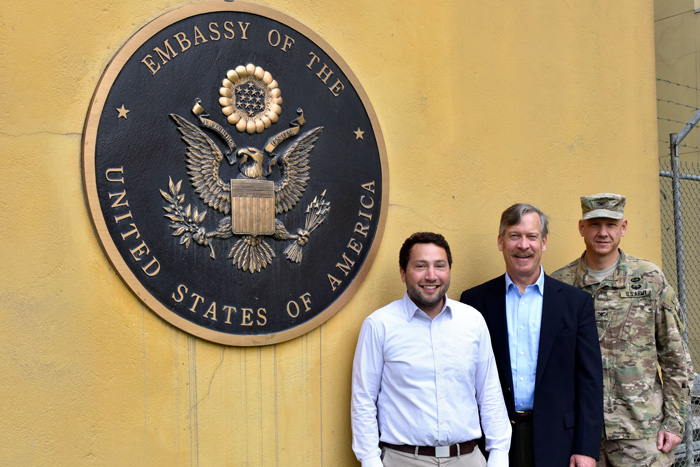 Three alums at the American embassy in Kabul