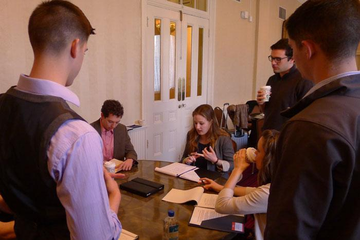 students act out NATO and other diplomatic roles