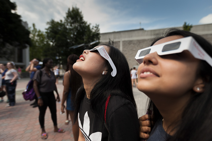 Dickinson students watching solar eclipse