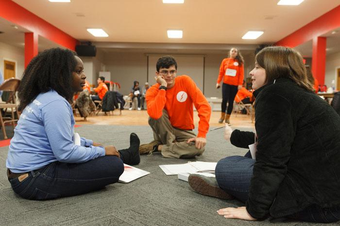 students work through exercises during the emerging leaders retreat