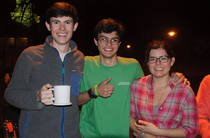Students pose during the Energy Challenge bonfire. Photo by Matt Atwood '15.