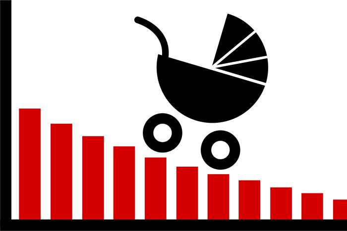 Graphic depicting a baby carriage rolling down a bar graph, which is declining from left to right.