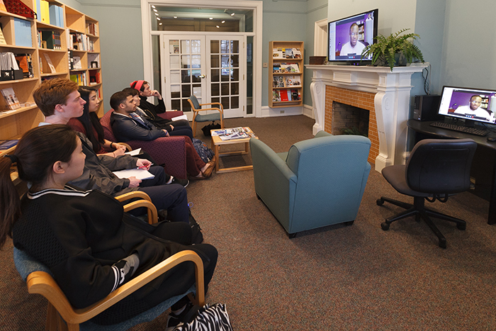 Darrell Pacheco '12 delivered advice via Skype to students in the Career Center. Photo by Carl Socolow '77.